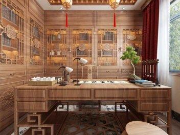 新中式客餐厅书房全景模型