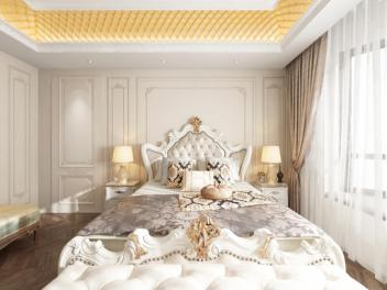 欧式卧室衣帽间全景模型