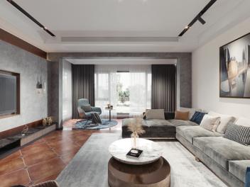 现代混搭客厅餐厅全景  现代布艺转角沙发模型